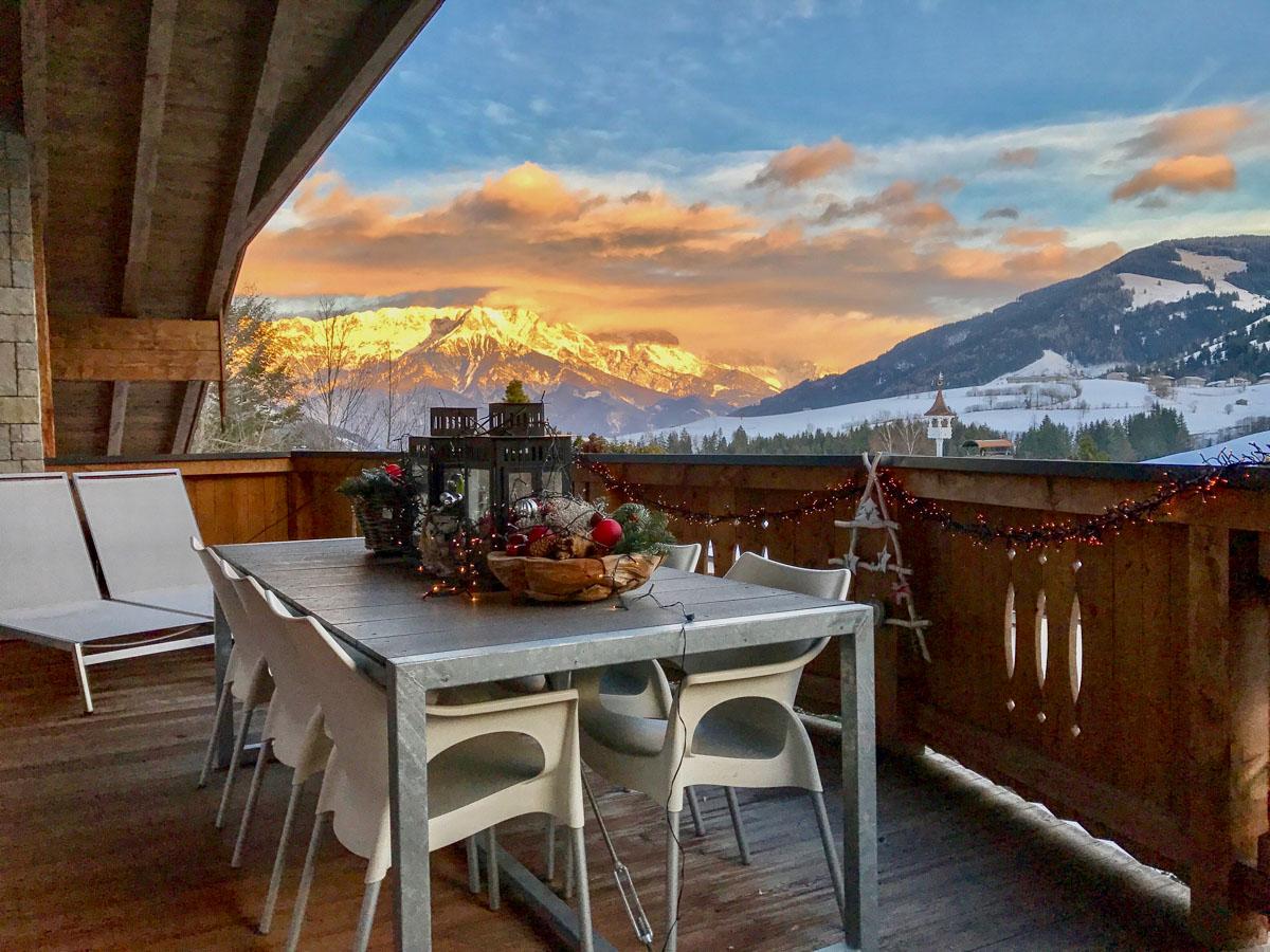 Balkon Penthouse mit Bergpanorama Mountain Lodge Leogang