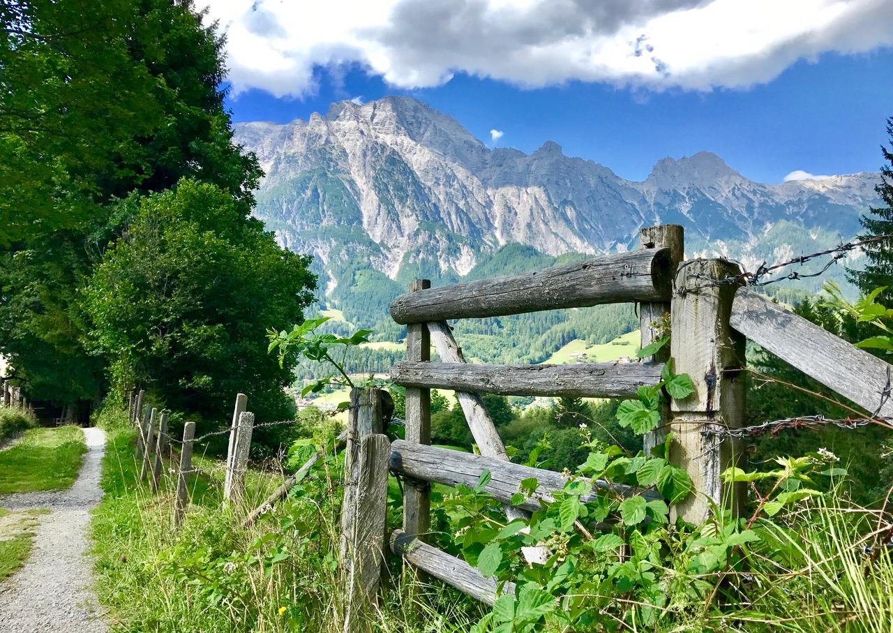 Wanderweg in Leogang mit Steinbergen im Hintergrund