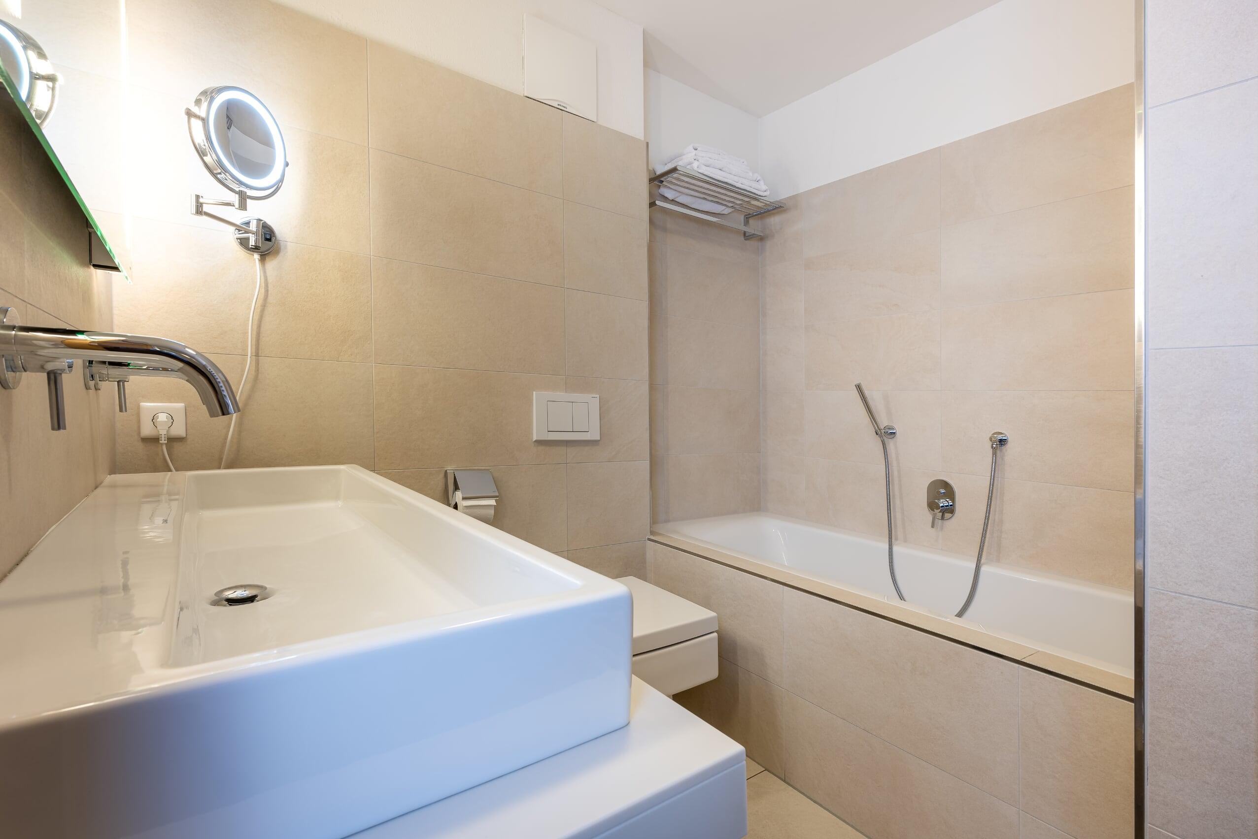 Ausstattung Bad im Detail - Apartment 3 der Mountain Lodge Leogang